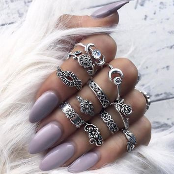 Eleven Piece Set Bohemian Vintage Style Silver Stack Rings
