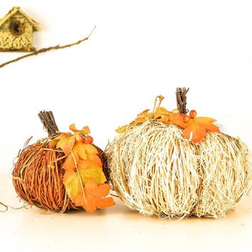2pcs/lot Handmade Wooden Twig Decorations for Home Pastoral Charming Fall Accessory Crafted Decors Spring Easter Pumpkin
