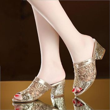 Women Square Heel Summer Lace Sexy Sandals