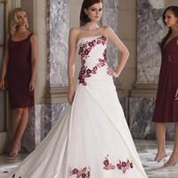 Romantic White With Red Emboridery Wedding Dress WDC031 -Shop offer 2012 wedding dresses,prom dresses,party dresses for girls on sale. #Category#