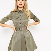 ASOS | ASOS Military Belted Skater Dress at ASOS