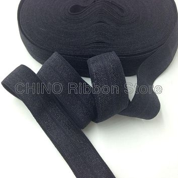 """10Y/lot Solid Black Fold Over Elastic  5/8"""" FOE Elastic Ribbon for Hair Tie DIY Headwear Hair Accessories Many Colors Available"""