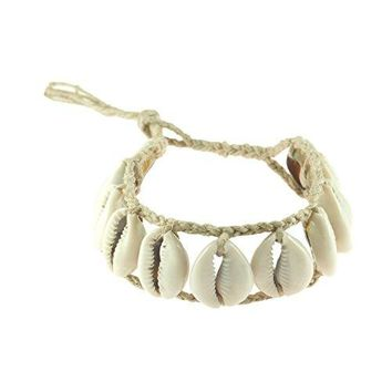 AUGUAU Cowrie Shells Ladder on Braided Hemp Cord Anklet Bracelet