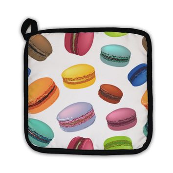 Potholder, Pattern With Colorful Macaroons Cookies