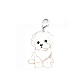 Happy High Quality New Lovely Design White Cute Metal Dog Tag Disc Disk Pet ID Enamel Accessories Collar Necklace Pendant