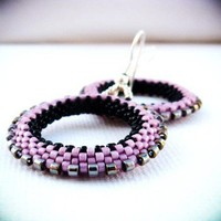 Old RoseGoth black pink silver beadwoven hoop by CallOfEarth