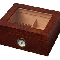 Walnut Brown Cigar Humidor - Holds 50 Cigars