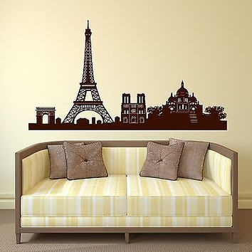 Wall Sticker Vinyl France Paris Eiffel Tower Triumphal Arch Cathedral (n188)