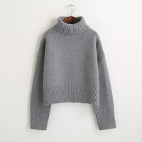 Turtleneck Sweater 2016 Women Vintage High Neck Wide Sleeve Knitted Thickening Warm Pullover Oversize Jumper Large Loose Sweater