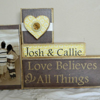 Personalized wedding gift personalized photo with date sepia and yellow love believes all things shower anniversary reception gift happily