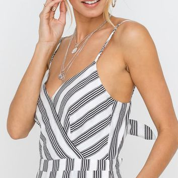 Perfect Day Vertical Stripe Pattern Sleeveless Spaghetti Strap Cross Wrap V Neck Cut Out Bow Back Loose Wide Leg Jumpsuit - 2 Colors Available (Pre-order)