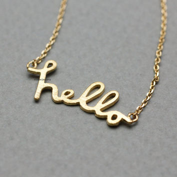 Hello Pendant necklace in gold / silver / pink gold, N0778K