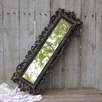 Mirror, Shabby Chic, Ornate, Black, Gold, Hollywood Regency, Syroco, Homco