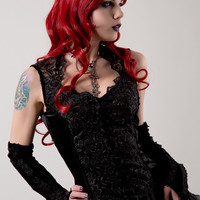 Iolana Velvet & Lace Top by Sinister | Ladies Gothic