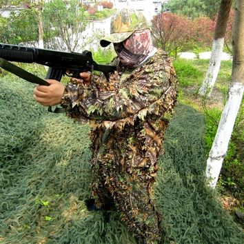 camo Camouflage suits Hunting clothes Bionic 3d Yowie sniper net hats pants fabric jacket suit accessories Ghillie Unisex