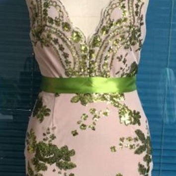Green Strappy Sequined Sheer Mesh Overlay Dress