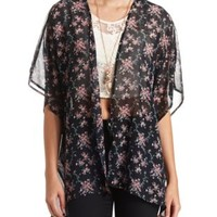Sheer Floral Print Kimono Top by Charlotte Russe - Black Combo