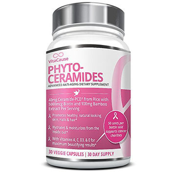 Advanced Phytoceramides enhanced with Patented Ceramide-PCD - 30 Veggie Caps Plant Based & Derived from Rice, Vitamins A, C, D3, & E plus Biotin & Bamboo Silica for Healthy, Youthful Skin & Hair