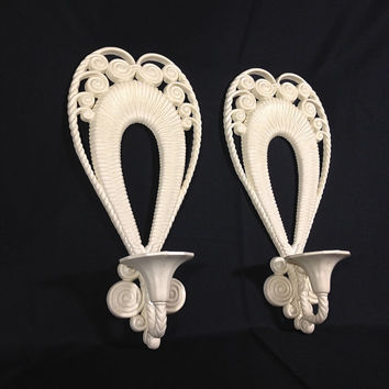 Romantic Candle Wall Sconces Antique White Heart Shaped Scroll Decorative Wall Hanging Candle Holders Patio Garden Candle Lighting Burwood
