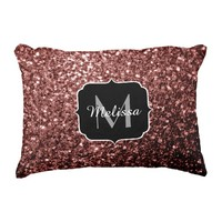Beautiful Glam Marsala Brown-Red Glitter sparkles Monogram Accent Pillow Cushion by PLdesign