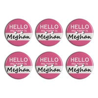 Meghan Hello My Name Is Plastic Resin Button Set of 6