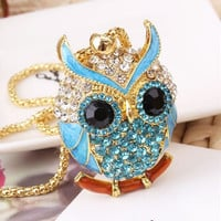 Lemon Value Rhinestone Owl Pendants Necklaces