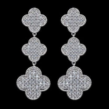 Famous brand design Four Leaf Clover earrings for women,high quality micro pave AAA Cubic Zirconia earrings for wedding/party