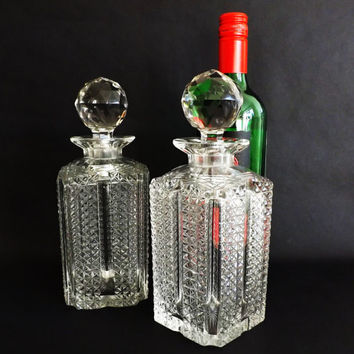 Antique Cut Crystal Whisky, Square Spirit Decanter, English Cut Whiskey Carafe, Crystal Barware, Liquer, Formal Dining, Wedding Gift