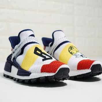 BBC x Pharrell x adidas NMD Human Race Trail ¡°Whtie Red Yellow Navy¡± Running Shoes F99766