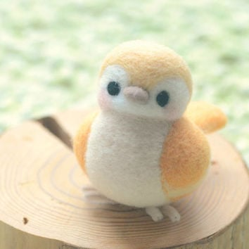 Needle felted bird doll, handmade bird figurine, Blushing bird collection - yellow color, home decor ornament, gift under 30