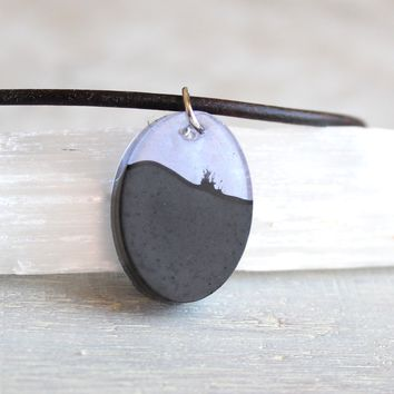 Oval necklace - violet and black