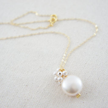 Cream coin pearl and white pearls necklace with gold vermeil chain, wedding, bridesmaid, mother of bride, gift, message card