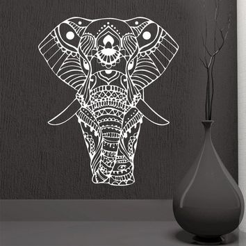 Mandala Elephant Sticker Wall Art - Removable Psychedelic Art - Every Color and Size