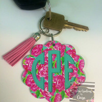 Lilly Scallop Monogram Keychain, Monogram Key Chain, Monogram Gift, Pattern Keychain, Monogram Car Keys