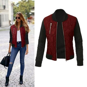 Winter Parkas Fashion Bomber jacket Women Autumn Long Sleeve Coat Cool Basic Slim Down Jacket Zipper Chaquetas Biker Outwear