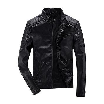 Autumn Stand Collar Slim Fit Lining Motorcycle Jackets Men