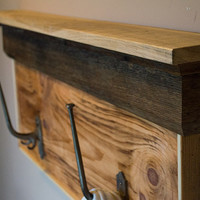 Barn Wood Shelves - Wood Coat Rack - Wooden Coat Hooks - Wooden Mantel - Rustic Wood Shelf - Pallet Furniture - Reclaimed Wood Shelves