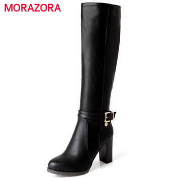 MORAZORA Hot sale new fashion soft pu leather high heels knee high boots buckle boats women motorcycle boots autumn winter shoes