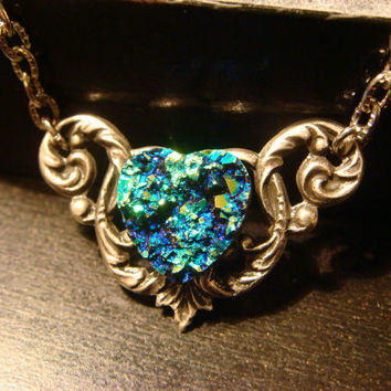Victorian Style Blue Green Faux Druzy / Drusy Heart Necklace in Antique Silver (1311)