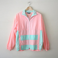 90s Pastel Neon Windbreaker, Pink and Teal Color Block Jacket, Track Jacket, 90s Athletic Wear, Club Kid, Vaporwave, Small