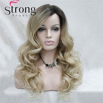 ESB1ON Lace Long Curly Brown BLonde Ombre Monofilament Side Part Heat ok Ombre Dark Brown Blonde Full Synthetic Wig