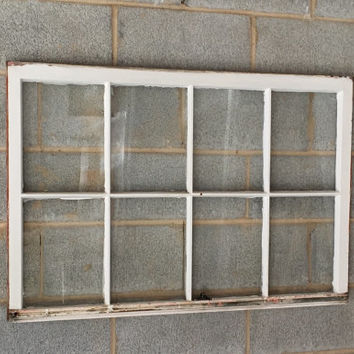 "Vintage 8 Pane Window Frame - 40W"" x 27L"", White, Rustic, Antique, Wedding, Beach Decor, Photos, Pictures, Engagement, Holiday, Business"