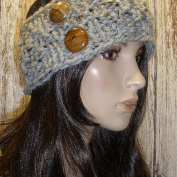 Knit Headband Ear Warmer Hand Knit Oatmeal Gray Tweed Woodsy Chunky Ribbed With Wood Buttons