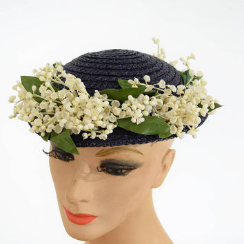 40's Navy Blue Straw Summer Hat w Flowers