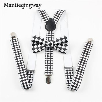 Fashion Elastic Suspender Y-Back Suspenders Bow Ties For Wedding Women Men's Unisex Clip-on Braces Bowtie Sets