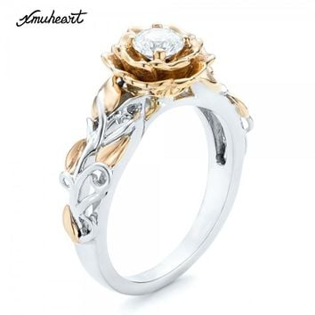 XMUHEART Women Fashion Jewelry Flower Elegant Rings For Women Crystal Zircon Femme Stone Romatic Ladies Engagement High Quality
