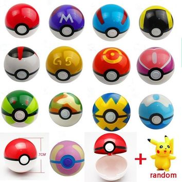 Dropshipping 1Pcs Pokeball + 1pcs Random Figure Inside Figures Toys for childern 13 kinds of ball and 100 kinds action figures