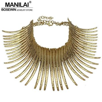 MANILAI Fashion Indian Bending Alloy Big Torques Statement Necklaces Steampunk Jewelry Collar Choker Necklace For Women