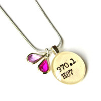 Ombre Lilac Purple and Magenta Pink Summer Sterling Silver Limited Edition Librarian Necklace Perfect for Girly Book Lover Teens