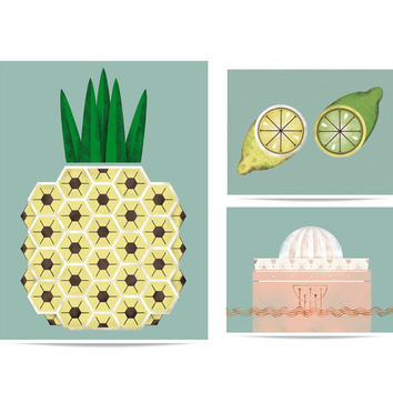 Puzzle set Tropical Fruits- Pineapple, lemons and squeezer. Fruits illustrations for the kitchen or dinning room.